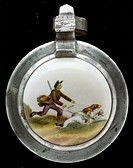 fine arts, painting, painted beer jug lid, tin mounting, contour print, coloured, hunter is drawn by two hounds, Germany, 2nd half 19th century,