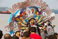 Immersion of goddess durga ; Kolkata ; West Bengal ; India