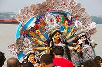 Immersion of goddess durga ; Kolkata ; West Bengal ; India
