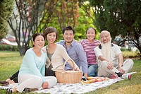 Chinese family picnicking in park