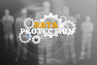 Data protection text with wheels and cogs