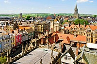 View over the mediaval Skyline of the university city Oxford England.Blick ueber die mittelalterliche Skyline der Universitaetsstadt Oxford in Suedost...