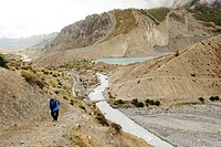 Trekkers in manang , Nepal , Asia