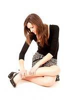 young woman with legs pain