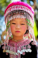 Young Thai girl from the Meo tribe in Doi Suthep temple in Chiang Mai Thailand