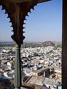 Human settlement through carved screens in Juna Mahal Old Palace in Dungarpur, Rajasthan, India