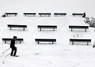 Winter in Paris,skier in Montmartre,France,Europe
