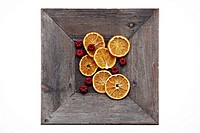 clip image - dried orange slices and berries - christmas potpourri in wooden bowl