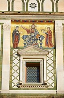 The Romanesque marble facade & mosaic begun in about 1090 of San Miniato al Monte St  Minias on the Mountain basilica , Florence, Italy