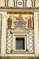 The Romanesque marble facade & mosaic begun in about 1090 of San Miniato al Monte St  Minias on the Mountain basilica , Florence, Italy