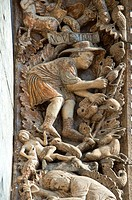 13th century Medieval Romanesque Sculptures from the introdos of the second arch of the facade of St Mark´s Basilica, Venice, depicting November from ...