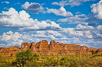 Australia, Western Australia, The Kimberley Region, Bungle Bungle National Park, Purnululu, view of the characteristic beehive shaped sandstone domes