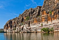 Australia, Western Australia, Kimberley, Geikie Gorge National Park, view of the fossilized reef gorge formed by the Fitzroy River  The ancient limest...