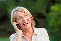 Woman laughing on the phone