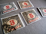 German postage stamps with numbers 2, 3, 4, 5, 6