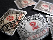 German postage stamps with numbers