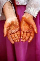 Uighur girl with henna hands, Kashgar, Xinjiang province, China
