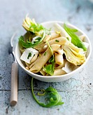 Pasta,artichoke and feta salad