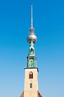 Fernsehturm Berlin and St. Mary&039,s Church. Germany
