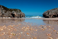 Beach of Caves of the sea, Nueva de Llanes, Llanes, Asturias, Sp