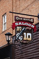 USA, South Dakota, Black Hills National Forest, Deadwood, sign of the Number 10 Saloon, site of the murder of Wild Bill Hickok