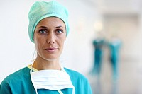 surgeon in the operating room hallway, Onkologikoa Hospital, Oncology Institute, Case Center for prevention, diagnosis and treatment of cancer, Donost...