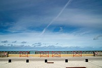 France, View of sea with boardwalk
