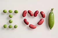 ´I LOVE PETITS POIS´ SPELLED OUT WITH ORGANIC PEAS, ORGANIC RED PEAS AND A PEA POD, ORGANIC FARMING, CHAUMONT, HAUTE_MARNE, CHAMPAGNE_ARDENNE REGION, ...
