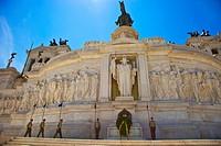 Monument to Vittorio Emanuele II in Venzia Square and La Cordonata Stairs, Rome, Lazio, Italy.