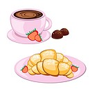 Coffee in round mug and croissant