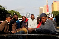 Traveling workers in Nairobi, Kenya.