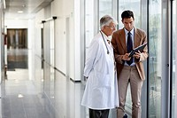 Doctor attending to seller, Corridor, Onkologikoa Hospital, Oncology Institute, Case Center for prevention, diagnosis and treatment of cancer, Donosti...