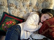 Sault Ste Marie, Ontario Girl, 11 years old, sleeping on couch