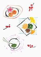 illustration of plates with autumn foods