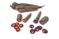 Purple carrots on white backgrpound