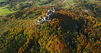 Hohenzollern Castle in autumn, Baden_Wuerttemberg, Germany, aerial photo