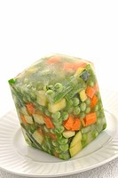 Block of Frozen Mixed Vegetables.