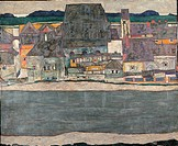 Houses on the River Old Town, by Schiele Egon, XXI Century, 1914, oil on canvas, cm 100 x 120