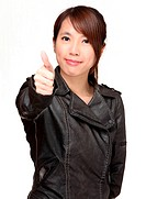 asian woman with thumb up over white background