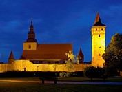 Bell tower and outer ward tower of the fortified church Ostheim, Rhoen Grabfeld district , Lower Franconia, Bavaria, Germany