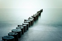Groynes on the beach of Heiligendamm, Baltic Sea, Mecklenburg_Western Pomerania, Germany