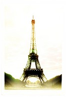 Retro styled print of the Eiffel Tower with the Trocadero in the background, Paris, France.