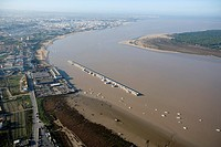 aerial view of the river Guadalquivir and the Port of Bonanza, Sanlucar de Barrameda, Cadiz, Doñana Natural Park, Spain, Europe