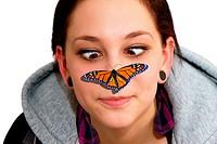 Schmetterling auf der Nase