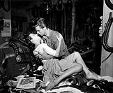 American actor Robert Wagner kissing American actress Kathleen Crowley in The Silver Whip. 1953. The Silver Whip, 1953, directed by Harmon Jones, USA,...