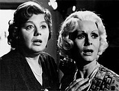 American actresses Shelley Winters and Debbie Reynolds acting in surprise in the film What's the Matter with Helen?. 1971. What's the Matter with Hele...