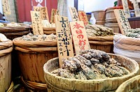Food stall at Nishiki food market, Kyoto, Japan, Asia