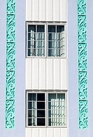 Detail of two Windows, Art Deco District, South Beach, Miami Beach, USA
