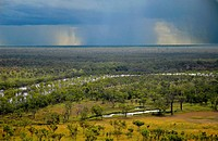 Late wet season rain passes over the floodplain of the Hann River, Mornington Wildlife Sanctuary, central Kimberley, Western Australia