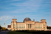 The Reichstag building, Berlin, Germany. The dedication Dem deutschen Volke, meaning To the German people or For the German people